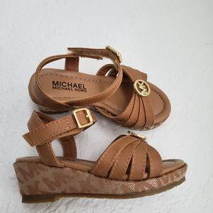 Michael Kors Signature Print Girls Wedge Sandal